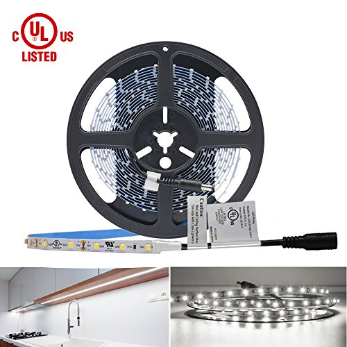 HitLights Neutral White LED Light Strip, Premium 3528-16.4 Feet, 300 LEDs, 4000K, 82 Lumens per Foot. UL-Listed. 12V DC Tape (110 Volt Light Commercial Receiver)