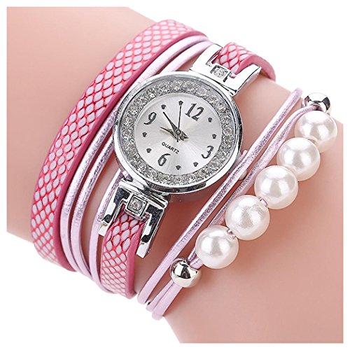 Inkach Girls Wrist Watch, Fashion Casual Analog Quartz Rhinestone Pearl Wrist Band Watch Bracelet (E)