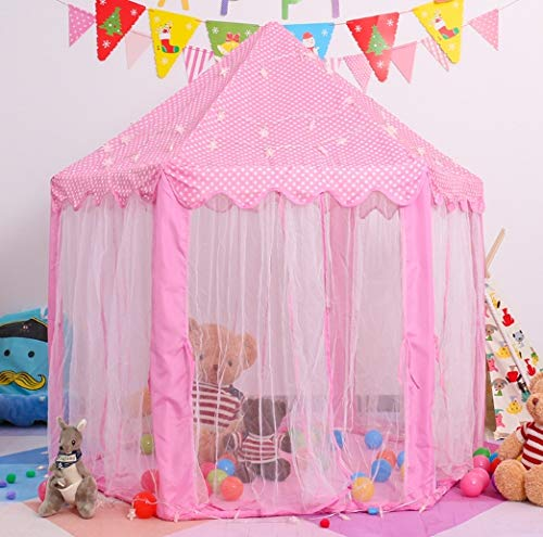 (Princess Castle Play Tent, Kids Indoor and Outdoor Pink Playhouse Tents with Glow in the Dark Stars Great Gift for Boys Girls Children's Day)