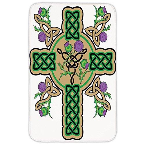 Rectangular Celtic Knot - Rectangular Area Rug Mat Rug,Celtic,Celtic Knot Design Christian Cross Icon Wreath Flowers Retro Floral Welsh Pattern,Mustard Green,Home Decor Mat with Non Slip Backing
