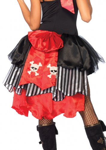 [Leg Avenue Pin-On Pirate Bustle with Skull and Crossbones Bow Back Costume Accessory, Black/Red, One] (Red Skull Costume Amazon)
