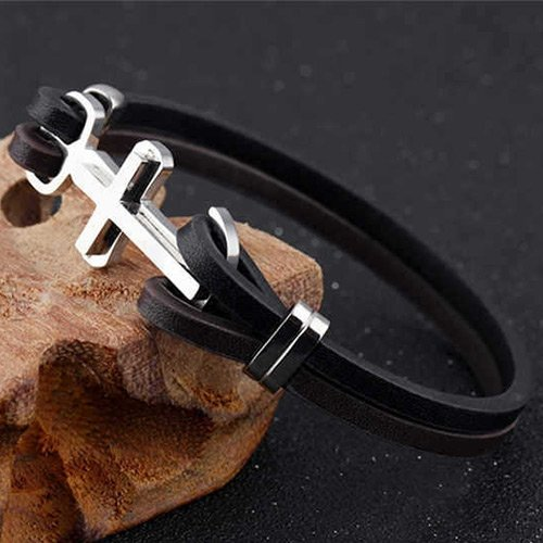 Craftdady Unisex Multilayer Stainless Steel Cross Charm Cowhide Leather Cord Bracelet Bangle Wristband