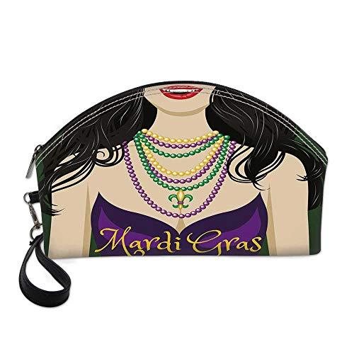 Mardi Gras Small Portable Cosmetic Bag,Young Woman with Party Dress and Necklace with Fleur De Lis Symbol Accessories For Women,One size]()