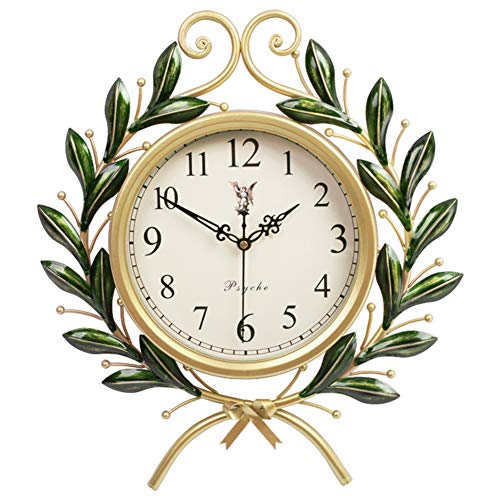 HYXL Olive Branch Wall Clock,Retro Creative Non-Ticking Quartz Clock Wall Clocks Modern Living Room Wall Decoration-A ()
