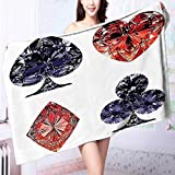 PRUNUS Cotton Extra-Absorbent Bath Towels Collection Diamond Shaped Cards Poker Face Luxury Fortune Symbols Sapphire Decorative Decor Dark Odor Resistant