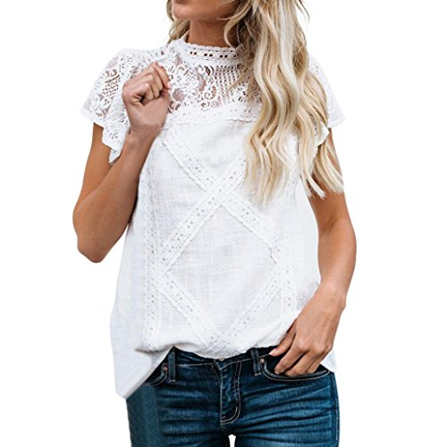 Howley Womens Lace Patchwork Flare Ruffles Cotton Short Sleeve Cute Floral Shirt Blouse Top (White, ()