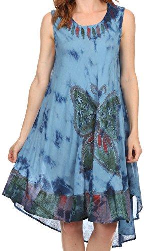 Sakkas 217 Tie Dye Butterfly Tank Sheath Caftan Mid Length Cotton Dress - Blue/One Size
