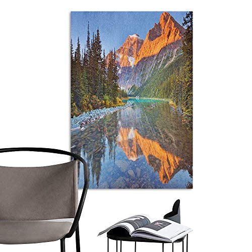 Art Decor 3D Wall Mural Wallpaper Stickers National Parks Canadian Rocky Mountain Range on Edith Cavell Lake Pastoral Image Print Multicolor 3D Decorative Sticker W20 x H28 -