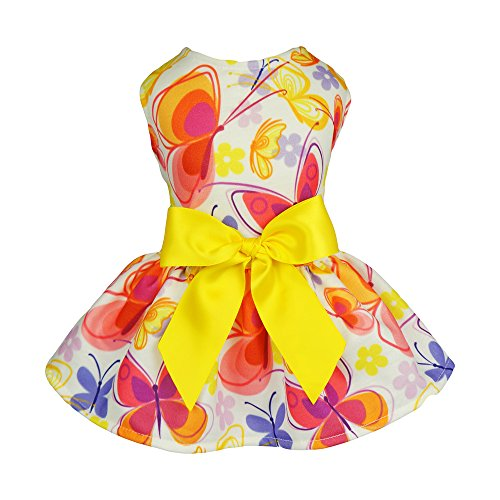 Fitwarm Floral Butterfly Dog Dresses Clothes Pet Vest Shirts Cat Apparel Yellow