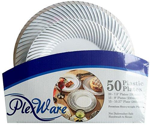 Plexware Silver Swirl Plastic Plates 50 Piece Set (20-7.5 Inch, 15 – 9 Inch, 15 - 10.25 Inch) White
