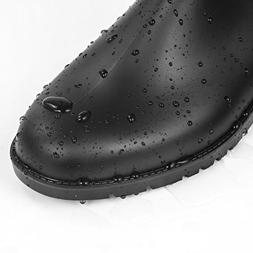 Men Black Shoes Slip Short Smiry Boots Anti Chelsea On Slip Black Waterproof Rain Ankle Shoes Rain Ladies Women 5qpRpY