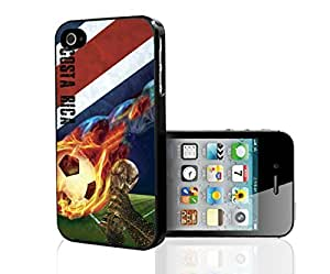 Blue, Red, and White Grunge Costa Rica Team Flag with Colorful Fiery Soccer Ball Hard Snap on Phone Case (iPhone 5/5s)