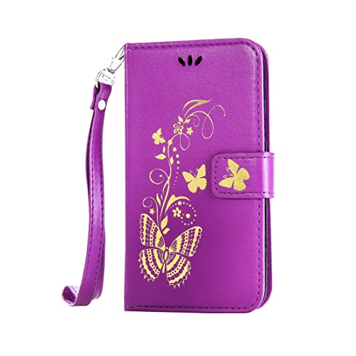 L90 Case, LG Optimus L90 Case, Love Sound [Bronzing Butterfly/Purple] [Wrist Strap] Luxury PU Leather Wallet Case Flip Cover Built-in Card Slots Stand for LG Optimus L90 (T-Mobile) / D415