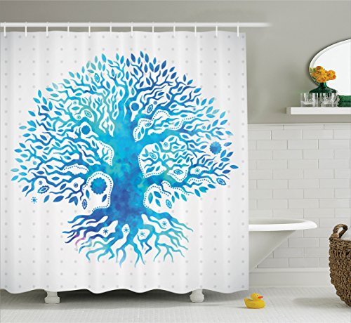 Ambesonne Apartment Decor Collection, Unique Ethnic Watercolor Old Tree of Life on Polka Spiritual Evil Eyes Totem Art Image, Polyester Fabric Bathroom Shower Curtain, 75 Inches Long, Blue White (Eyes Shower Curtain)
