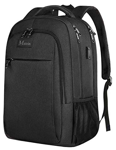 Business Travel Backpack, Matein Laptop Backpack with USB Charging Port for Men Womens Boys Girls, Anti-Theft Water Resistant College School Bookbag Computer Backpack Fits 15.6 Inch Laptop & ()