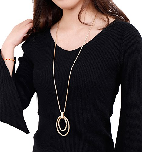NVENF Long Sweater Chain Double Circle Pendant Necklace Bold Snake Chain Women Statement Necklace (Gold Tone Oval Necklace)