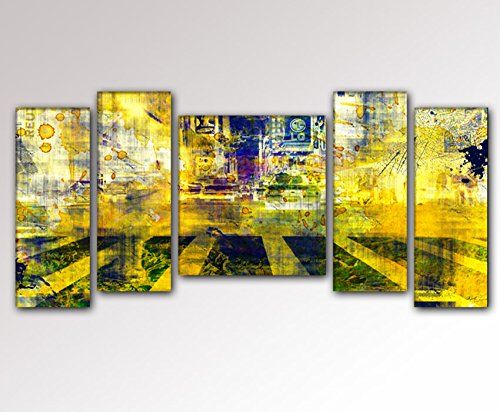 YPY Oil Paintings Abstract Morden City Street Wall Art for Home Living Room Bedroom Office Ready to Hang Canvas Material Framed 5 Panels