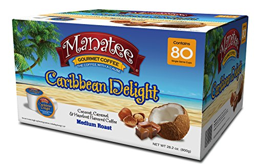 Manatee Gourmet Coffee Single Serve Pods for Keurig 2.0 K-Cup Brewers, Caribbean Delight,  Medium Roast Low Acid Coffee Silky Smooth with a Sweet Nutty Finish, 80 Count
