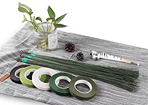 Flower Arrangement Supplies Floral Wires & Tapes - Dark Green Stem Wires 18 Gauge, 22 Gauge and 26 Gauge,with 5 Rolls Different Colors Floral Tapes