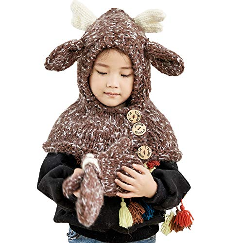 (HYIRI 2018 promotionNEW Fansion Winter Kids Warm Owl Cute Hat Knitted Hood Scarf Beanies For Autumn Winter)