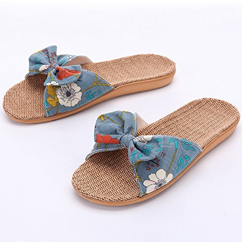 Btrada Women Fashion Floral Platform Summer Sandals Anti-Slip Indoor Slippers Green buMcYC6