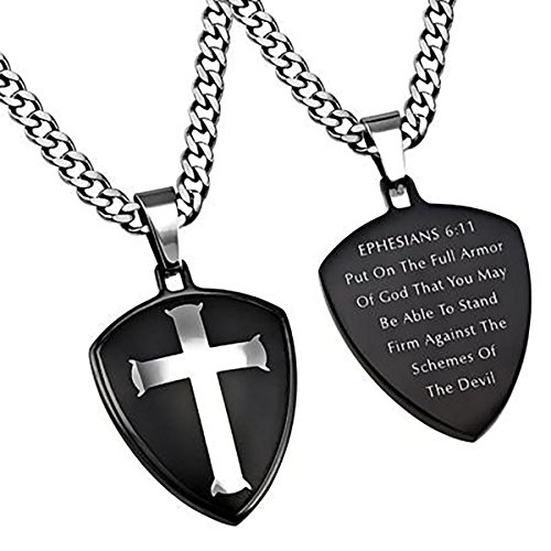 Black R2 Shield Cross Necklace Armor of GOD Stainless Steel Christian Bible Scripture Jewelry (20