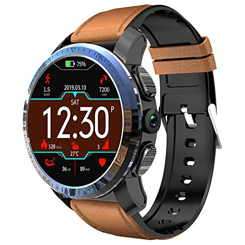 ZMCY Kospet Optimus Pro Smart Watch, 3GB RAM 32GB ROM WiFi GPS Android 7.1.1 MTK6739 1.25GHZ 8.0MP Camera Sport Management Water Proof Heart Rate Monitor for Android and iOS,BrownSiliconeLeather (Best Sports Management Games Ios)