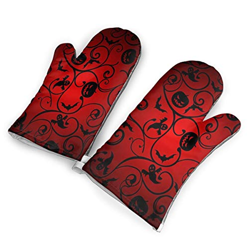 KEIOO Halloween Pattern Wallpaper Background Oven Mitts Heat Resistant Oven Gloves,Non-Slip Cooking Kitchen Oven Mitts for Baking BBQ,1Pair ()