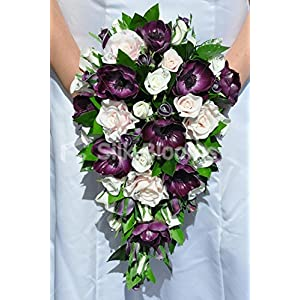 Scottish Fresh Touch Purple Anemone and Rose Cascade Bridal Bouquet with Greenery 79