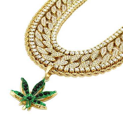 L & L Nation 5 pcs Bundle Set 14k Gold Plated Hip Hop Fully Cz Iced Out Chain Marijuana Green Pendant ()