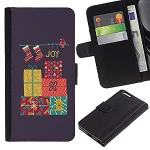 EJOY---La carpeta del tirón la caja de cuero de alta calidad de la PU Caso protector / Apple Iphone 6 PLUS 5.5 / --Feliz Navidad Vacaciones de Invierno Regalos