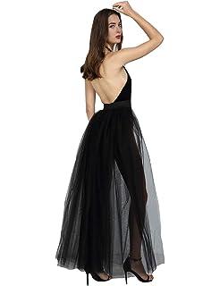 c7d2fe2bd5 Women Sexy Mesh 4 Layers Long Tulle Skirt Floor Length Wedding Party Tutu  Skirt