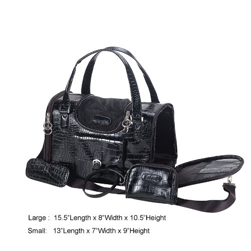 New Faux Crocodile Leather Travel Carrier Bag Pet Cat Small Dog Tote Black Purse