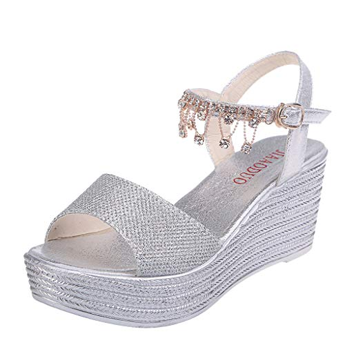 Orangeskycn Women Sandals Summer Wedges Shoes Pearl Thick Bottom Belt Buckle Muffin Roman Sequin Tassel Prom Sandals Silver