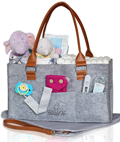 Nursery Shower Gift (Bonne Vie Baby Diaper Caddy with Changing Pad | Nursery Table Storage Organizer | Large Portable Car Tote Bag for Wipes & Diapers | Boy Girl Baby Shower Gift Basket | Newborn Registry Must Have (Grey))