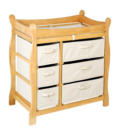 Sleigh Style Baby Changing Table with 6 Storage Baskets and ()