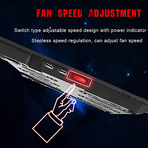 Pccooler Laptop Cooling Pad, Powerful Slim Quiet Laptop Cooler for Gaming Laptop/MacBook - 6 Red LED Fans - Dual USB 2.0 Ports - Portable Height Adjustable Laptop Stand, Fits 12-17 Inches