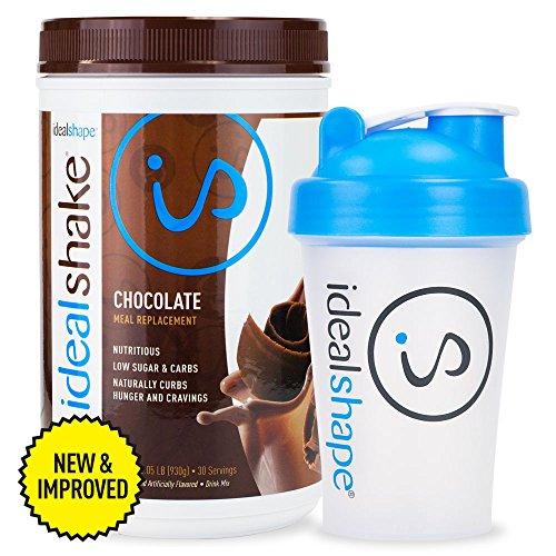 IdealShake ® comida recambio Shake (Chocolate todo-suero de leche) + Shaker gratis la botella por IdealShape. Hambre bloqueador (Natural Slendesta) aplasta antojos para hasta 3 Hrs. sentirme completo ya con pérdida de peso de Delicious. 90 calorías y sólo