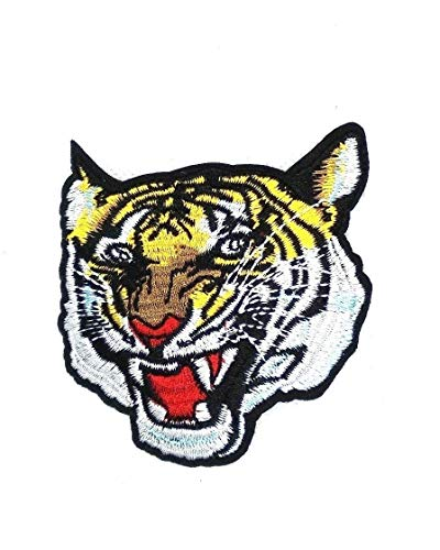 Bengal Tiger Iron-on Patch Embroidered Roaring Wild Animal Souvenir Applique