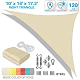 Patio Paradise 10' x 14' x 17.2' Waterproof Sun Shade Sail with Stainless Steel Hardware-Beige Triangle UV Block Durable Awning Canopy Outdoor Garden Backyard