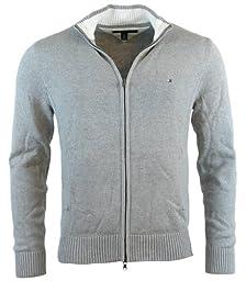Tommy Hilfiger Mens Full-Zip Mock Neck Cardigan Sweater - L - Gray