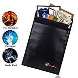 Fireproof Document Bag,Silicone Coated Fire Resistant/Water Proof Money Bag Fireproof Safe Storage,Protect Your Valuables,Documents,Money,Jewelry, Zipper Closure for Maximum Protection, 11''x15''