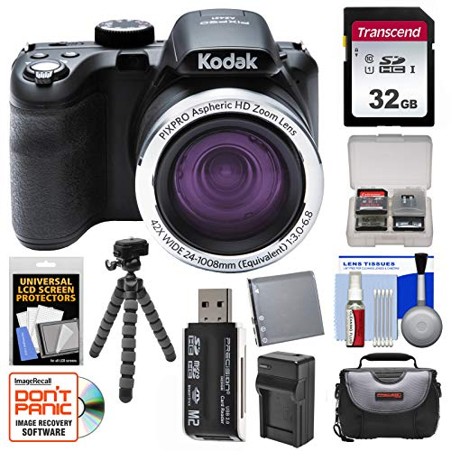 KODAK PIXPRO AZ421 Astro Zoom Digital Camera with 32GB Card + Case + Battery/Charger + Flex Tripod + Kit For Sale