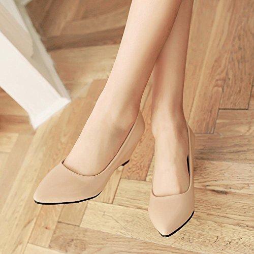 Latasa Moda Para Mujer De Imitación De Cuero Con Cuentas En Punta De Tacón Medio Del Talón Del Vestido Del Talón Bombas Formales Zapatos Beige