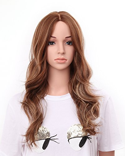 OneDor 24quot Curly Kanekalon Premium Synthetic Lace Hair Wig Caramel Highlights