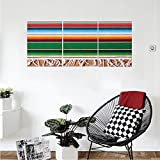 Liguo88 Custom canvas Mexican Decorations Boho Serape Blanket with Horizontal Stripes and Lines Authentic Picture Wall Hanging for Bedroom Living Room Multi