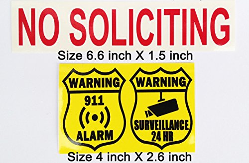 Easily make your home or business safer with minimum cost, with or without expensive security systems! Removable No Soliciting sticker + Alarm & Video security monitoring sticker. (Cost Of First Class Letter To Canada)