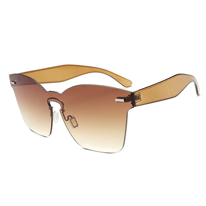 7a004cbb1ff4 OULII Rimless Sunglasses Novelty Pratical Beach Seaside Sunglass Mirror  Summer Eyewear for Men Women (Coffee) at Amazon Women's Clothing store: