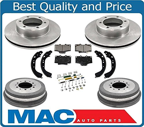 (93-98 T100 4W/D 1/2 Ton Front Brake Rotors Pads Rr Drums Brake Shoes Springs 7p)