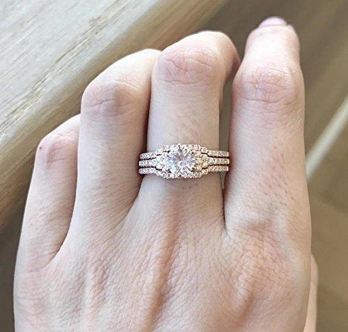 Rose Gold Engagement Ring- White Sapphire Ring Set- Unique Bridal Set Ring- Deco Bridal Set-1 Carat Wedding Ring Set-Three Piece Ring (Deco Wedding Ring)